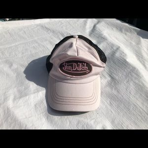 Von Dutch Women's Adjustable Distressed Pink Hat